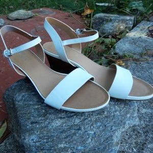 Franco Sarto White Sandal Wedge Sling Back 8.5